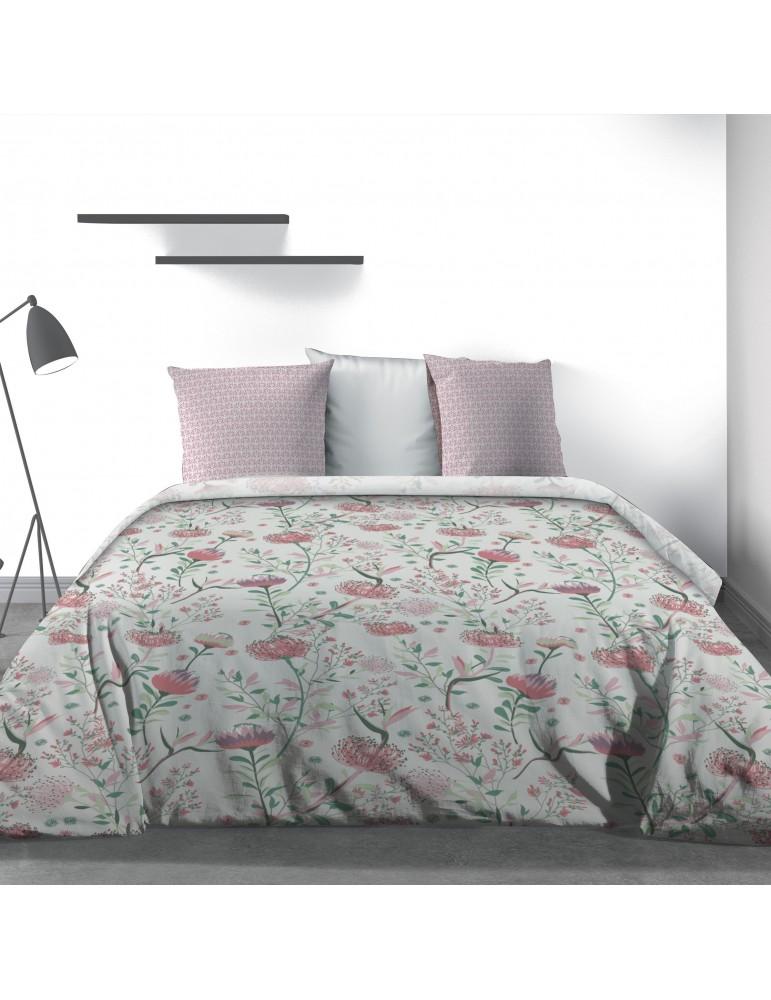 Parure de lit 2 personnes Phytea Pink avec drap plat et taies d'oreiller Imprimé 240 x 290 3800000503Les Ateliers du Linge
