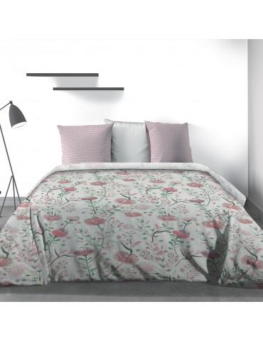 Parure de lit 2 personnes Phytea Pink avec drap plat et taies d'oreiller Imprimé 270 x 290 3805000503Les Ateliers du Linge