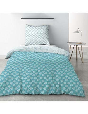 Parure de lit 1 personne Kadi Blue avec drap plat et taie d'oreiller Imprimé 180 x 290 3806000502Les Ateliers du Linge