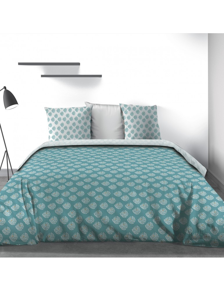 Parure de lit 2 personnes Kadi Blue avec drap plat et taies d'oreiller Imprimé 240 x 290 3817000503Les Ateliers du Linge