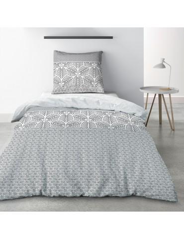 Parure de lit 1 personne Black Solaris avec drap plat et taie d'oreiller Imprimé 180 x 290 3844000502Les Ateliers du Linge