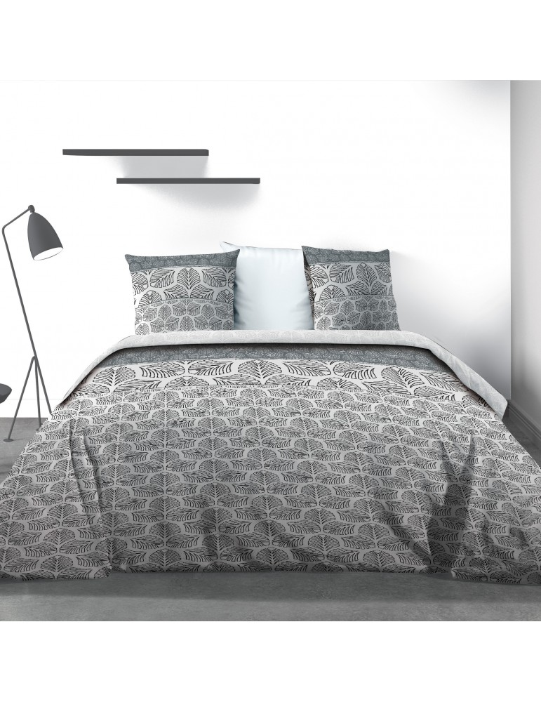 Parure de lit 2 personnes Black Solaris avec drap plat et taies d'oreiller Imprimé 240 x 290 3850000503Les Ateliers du Linge