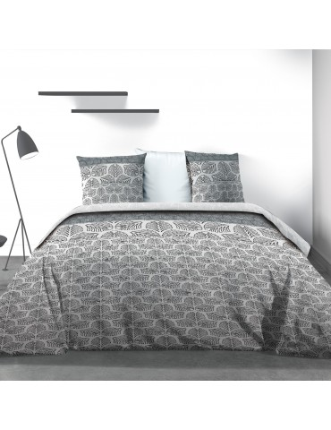 Parure de lit 2 personnes Black Solaris avec drap plat et taies d'oreiller Imprimé 270 x 290 3855000503Les Ateliers du Linge