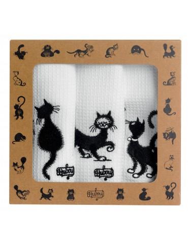 Lot de 3 torchons Dubout Les chats brodé Blanc 40 x 60 3702090703Winkler