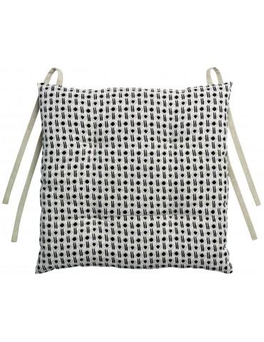 Galette de chaise Kilka Noir/beige 38 x 38 x 3 cm 2042079000Les Ateliers du Linge