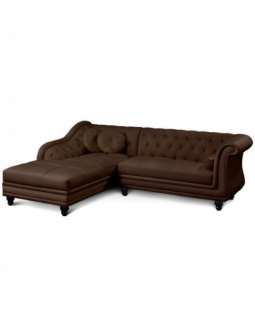 Canapé d'angle Brittish Marron style chesterfield A968-D-Marron foncé