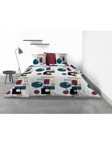 Parure de lit 2 personnes Frizbee avec housse de couette et taies d'oreiller Imprimé 260 x 240 4317000503Les Ateliers du Linge