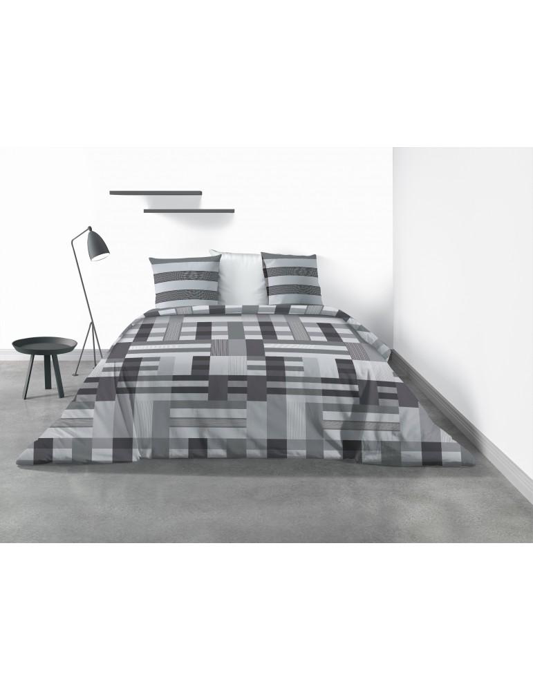 Parure de lit 2 personnes Damo avec housse de couette et taies d'oreiller Imprimé 240 x 220 4331000503Les Ateliers du Linge
