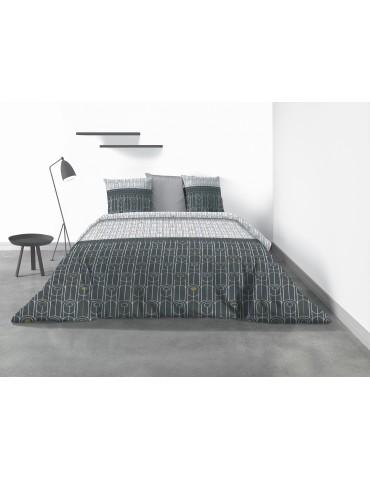 Parure de lit 2 personnes Eveal avec housse de couette et taies d'oreiller Imprimé 240 x 220 4345000503Les Ateliers du Linge