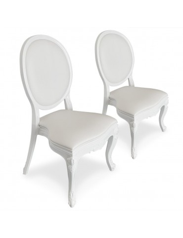 Lot de 4 chaises médaillon Isabel Simili (P.U) Blanc 9005iwhite