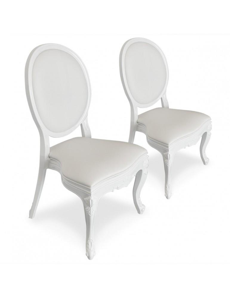 Lot de 4 chaises médaillon Isabel Simili (P.U) Blanc 9005iwhite