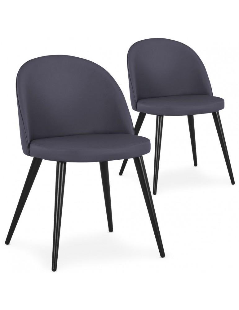 Lot de 2 chaises Maury Simili P.U. Gris dc5106lot2greypu