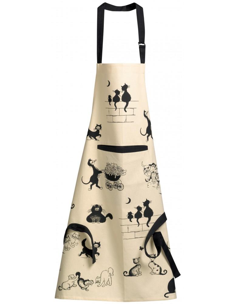 Tablier de cuisine imprimé Dubout 3 chats Beige 72 x 85 3703090000Winkler
