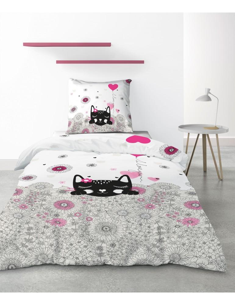 Parure de lit 1 personne Pussycat Pink avec housse de couette et taie d'oreiller Imprimé 140 x 200 4225000502Les Ateliers du ...
