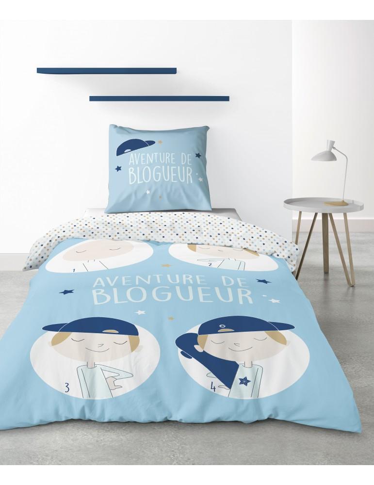 Parure de lit 1 personne Blogueur avec housse de couette et taie d'oreiller Imprimé 140 x 200 4236000502Les Ateliers du Linge