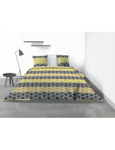 Parure de lit 2 personnes Hiko avec housse de couette et taies d'oreiller Imprimé 220 x 240 4041000503Les Ateliers du Linge