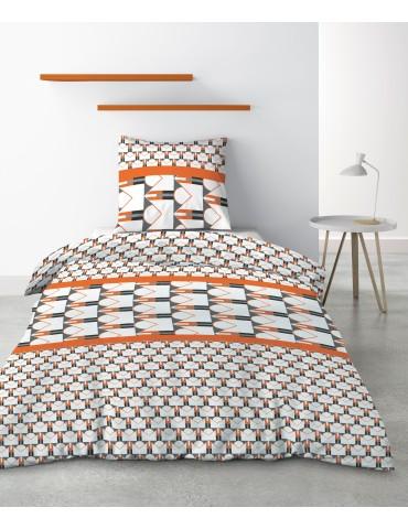 Parure de lit 1 personne Arrow avec housse de couette et taie d'oreiller Imprimé 140 x 200 4065000502Les Ateliers du Linge