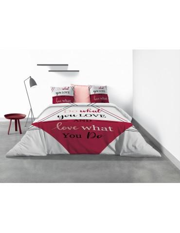Parure de lit 2 personnes Red Love avec housse de couette et taies d'oreiller Imprimé 260 x 240 4154000503Les Ateliers du Linge
