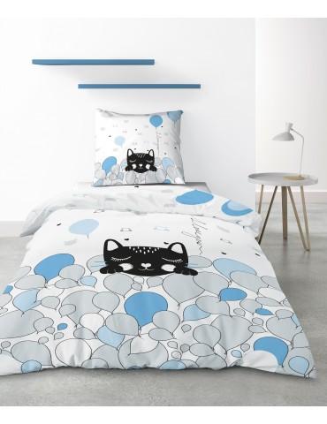 Parure de lit 1 personne Pussycat Blue avec housse de couette et taie d'oreiller Imprimé 140 x 200 4222000502Les Ateliers du ...
