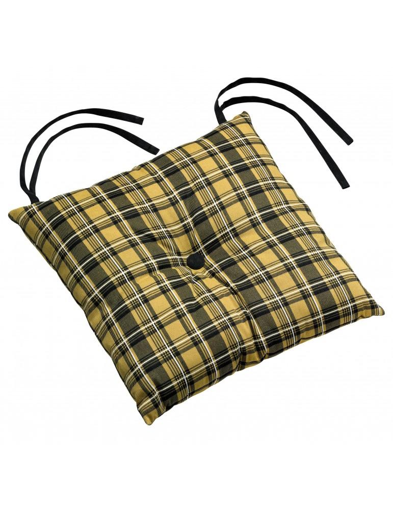 Galette de chaise Cottage 1 bouton Gold 38 x 38 x 3 cm 3698041000Les Ateliers du Linge