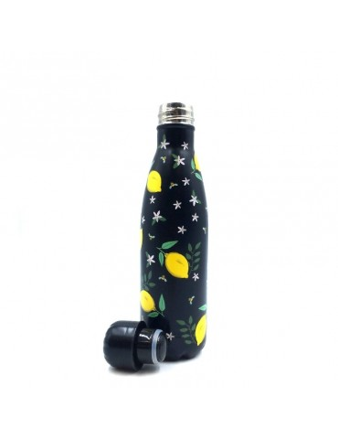 Bouteille isotherme 500ml citron et noir BOUTH21U004Kiub