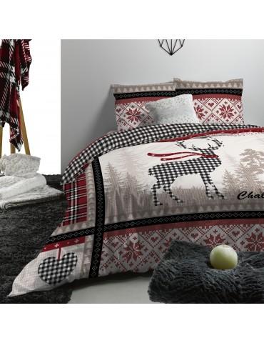 Parure de lit 2 personnes Chalet d'hiver avec housse de couette et taies d'oreiller Imprimé 240 x 220 4569000503Les Ateliers ...