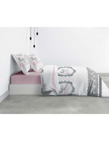 Parure de lit 2 personnes Eau de rose avec housse de couette et taies d'oreiller Imprimé 260 x 240 4354000503Les Ateliers du ...
