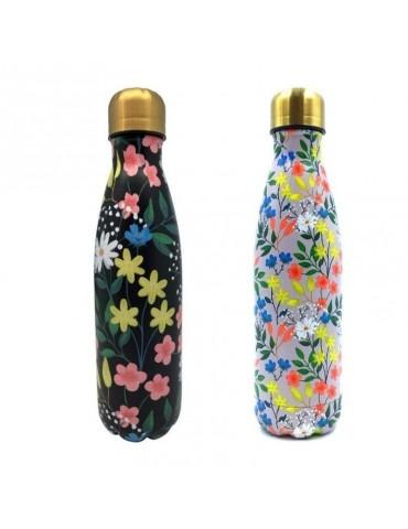 Lot de 2 bouteilles isotherme 500ml Herbier rose et noir LOTBOUTH21U013-014Kiub