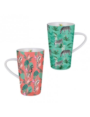 Lot de 2 grands mugs 420ml Savane Zèbre Lémurien LOTMUGGM19S01-04Kiub