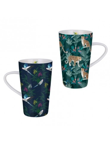 Lot de 2 grands mugs 420ml Savane Léopard oiseau LOTMUGGM19S02-03Kiub