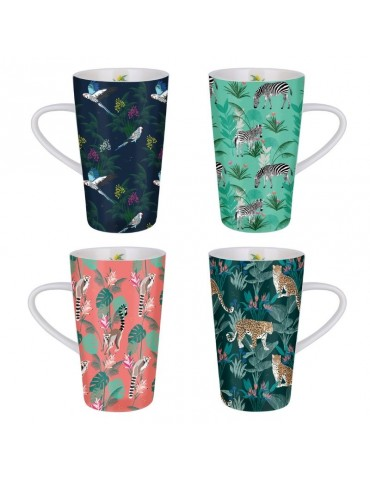 Lot de 4 grands mugs 420ml Savane LOTMUGGM19S01-02-03-04Kiub