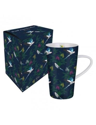 Lot de 2 grands mugs 420ml Savane Léopard oiseau LOTMUGGM19S02-03Kiub