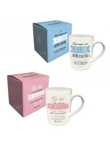 Lot de 2 mugs message bleu et rose 370ml MUG05E02-03Kiub
