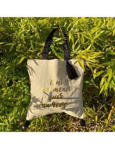 """Tote bag pompons noir """"Tout commence par un rêve"""" 37 x 37,5cm TOTC12L05Kiub"""