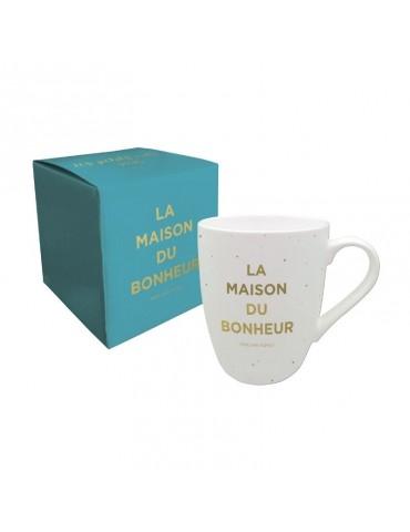 """Lot de 2 mugs 370ml """"La maison du bonheur"""" et """"Viens on s'aime"""" LOTMUG12L01/MUG12L04Kiub"""