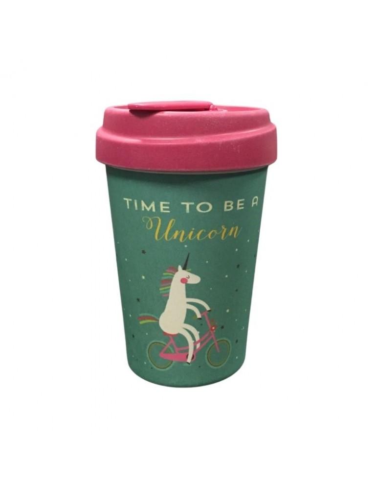 Mug de voyage chic mic Time for unicorns licorne 400 ml Bamboo Cup CMBCP205Kiub