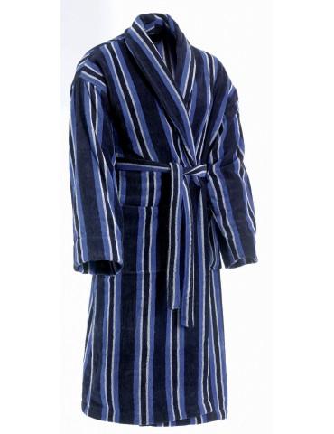 Peignoir velours jacquard Col Chale Bleu 6816912501Les Ateliers du Linge