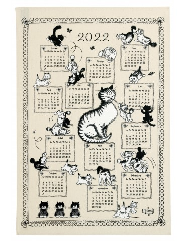 Torchon Dubout Calendrier Chatons 2022 Ecru 48 x 72 6220010000Winkler