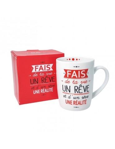 "Mug ""Fais de ta vie un rêve"" 370ml avec sa boite cadeau MUG05E04Kiub"