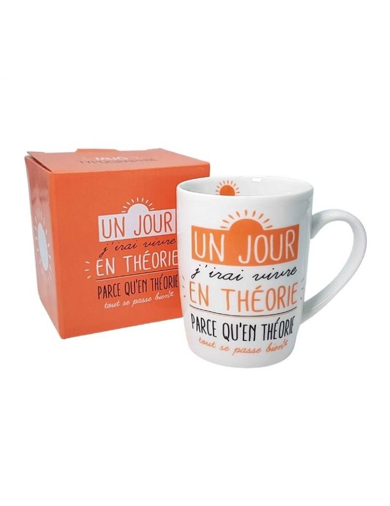"Mug ""Un jour j'irai vivre en théorie"" 370ml avec sa boite cadeau MUG05E01Kiub"