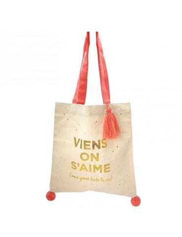 """Tote bag pompons rose corail """"Viens on s'aime"""" 37 x 37,5cm TOTC12L04Kiub"""