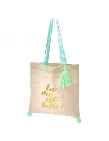 """Tote bag pompons vert """"La vie est belle"""" 37 x 37,5cm TOTC12L02Kiub"""