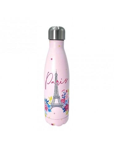 Bouteille isotherme inox 500ml Rose - Paris en fleurs BOUTH20T01- roseKiub