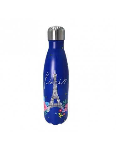 Bouteille isotherme inox 500ml Bleu- Paris en fleurs BOUTH20T01Kiub