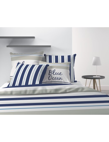 Parure de lit 2 personnes Blue Ocean avec housse de couette et taies d'oreiller Imprimé 260 x 240 7826000503Les Ateliers du L...