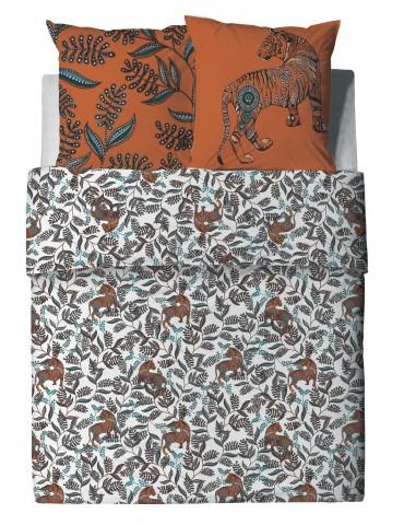 Parure de lit 2 personnes Savane avec housse de couette et taies d'oreiller Imprimé 200 x 200 6753000503Les Ateliers du Linge