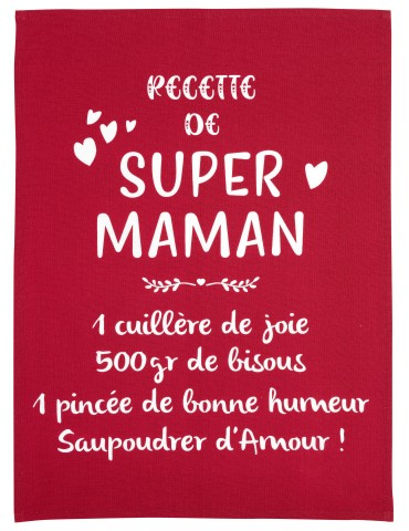 Torchon Message Super Maman Rouge 50 x 70 7196030000Winkler