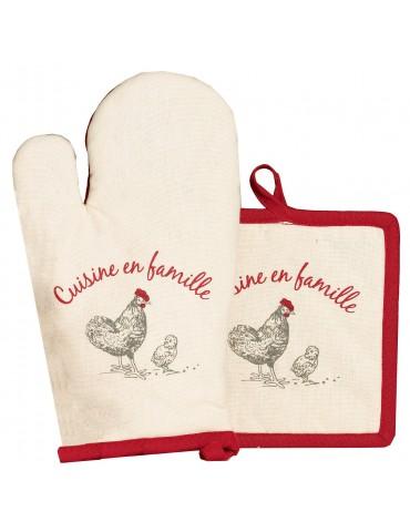 Gant de cuisine + Manique En famille Ivoire 18 x 28 6014011102Winkler