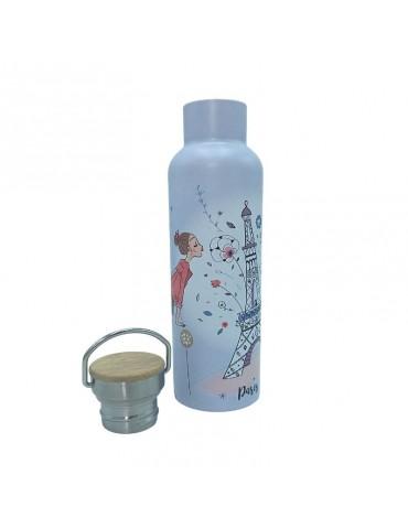 Bouteille isotherme avec anse 590 ml La Parisienne Gris Bisou GOUTH30D01Kiub