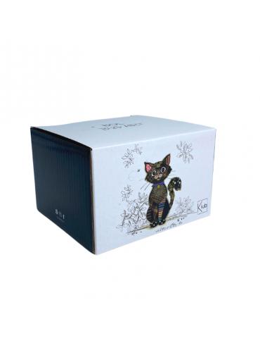 "Bol à anse mat 500 ml ""KOOK"" chat noir BOL21U01Kiub"